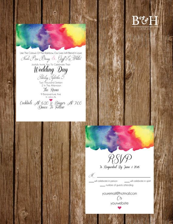 printable custom rainbow watercolour rainbow watercolor bright fun water color wedding - Rainbow Wedding Invitations