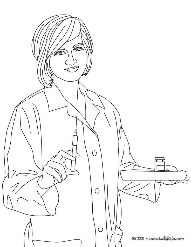 Nurse preparing medecines coloring page. Amazing way for