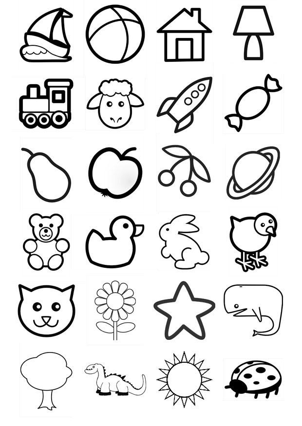 Iconos para niños, los pueden recortar y colorear además de señalar su nombre.