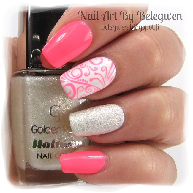 Nail Art by Belegwen: China Glaze Thistle Do Nicely, Gina Tricot White and Golden Rose 70
