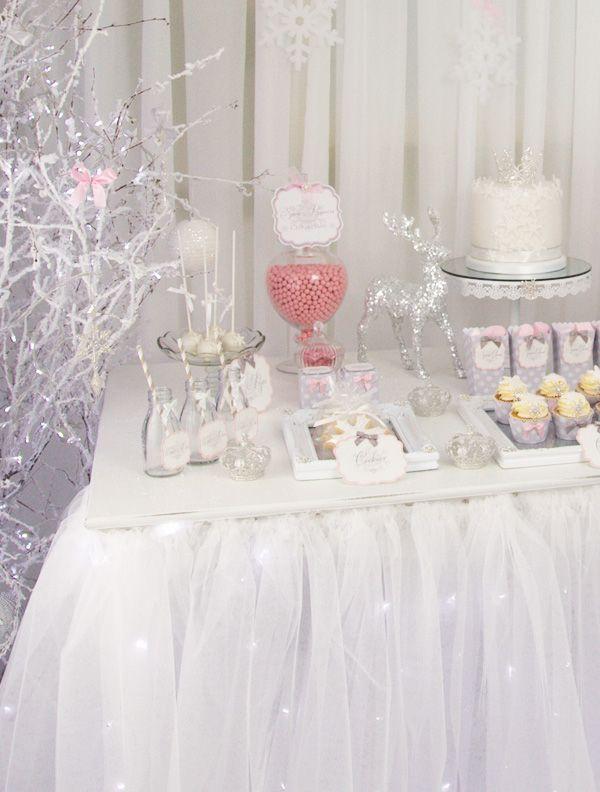 whimsical wintery snow princess dessert table