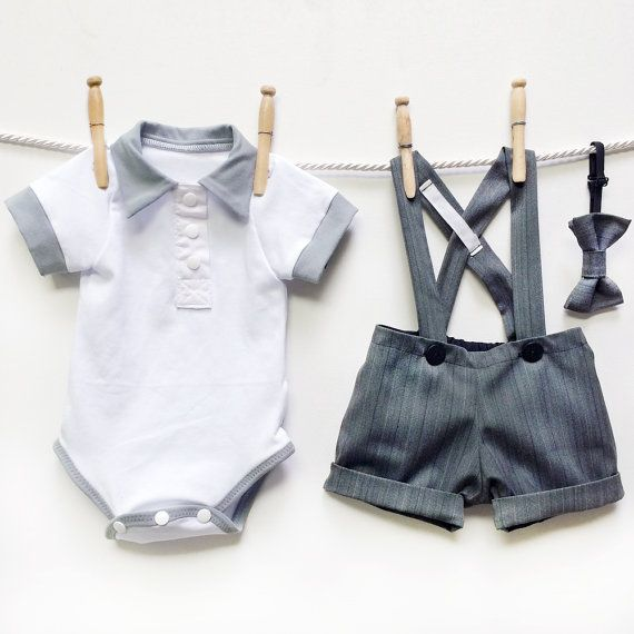 3 Piece Boys Gray Suit Set Grey Pinstripe Wedding door mabelretro