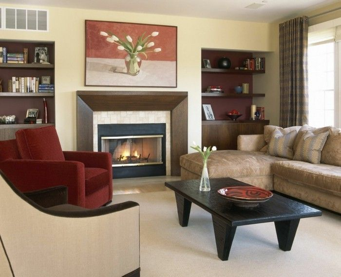 Trend wandbilder wohnzimmer gem tliches interieur kamin offene regale