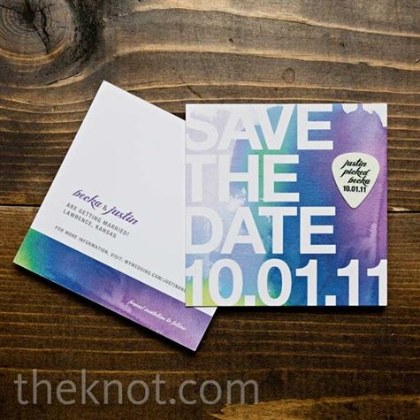 a watercolor map and a guitar-pick save-the-date.