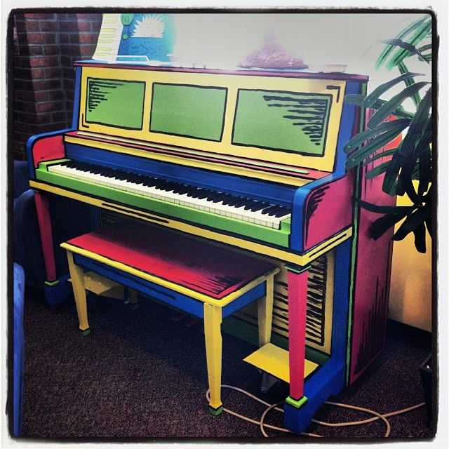 Our newly painted piano in the College Union!