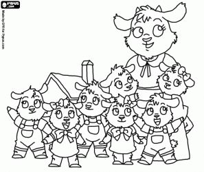 Pintar Les set cabretes amb la seva mare a prop de casa