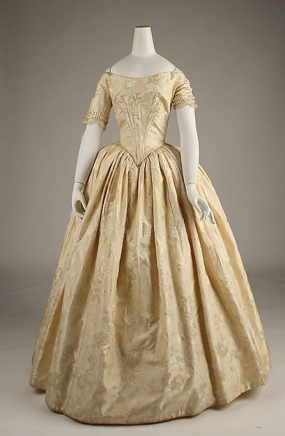 1845 ca.   Evening Ensemble, British. Pale gold silk, V-waisted, full skirt, scooped neckline and short sleeves.  metmuseum.org         suzilove.com