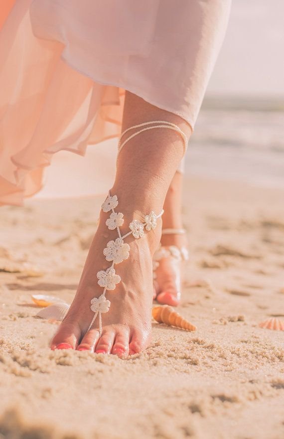 Voet juwelen strand bruiloft sandalen door ModernCrochetClub