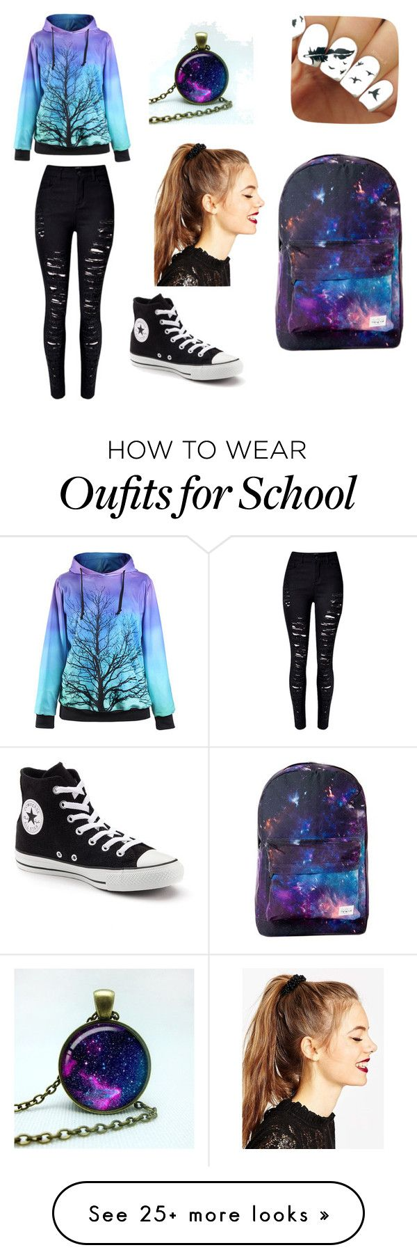 """Normal school day"" by joselineet on Polyvore featuring WithChic, Converse and ASOS"