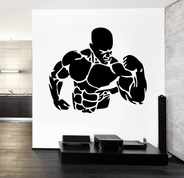 Wall Decal Sport Bodybuilding Muscle Guy Fitness Crossfit (z3203) Size 22''x24''