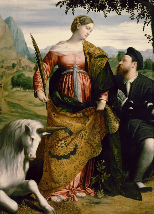 Moretto da Brescia - Saint Justina, Venerated by a Patron. 1530-1534