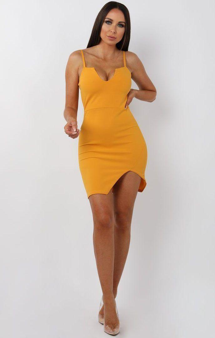 766eed5f60 Mustard V Bar Bodycon Mini Dress – Aspen