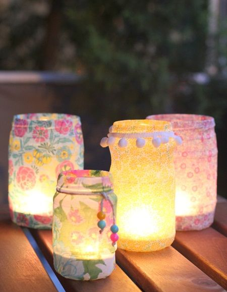 sweet fabric-covered jars. You could use electric tea-lights for safety, or go for real candles.