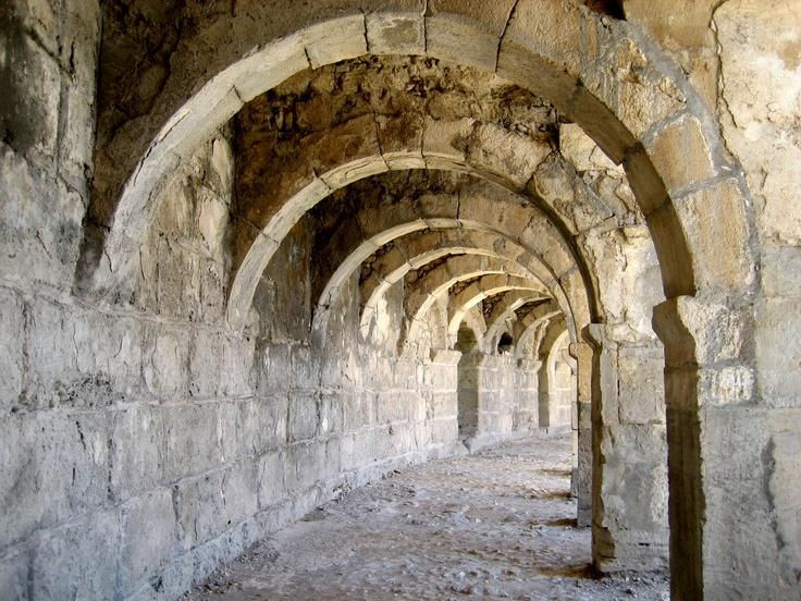Walkway in the 2nd century AD Graeco-Roman theatre at Aspendos, Antalya