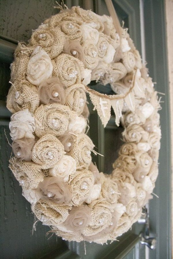 DIY Burlap Flower Wreath                                                                                                                                                                                 More