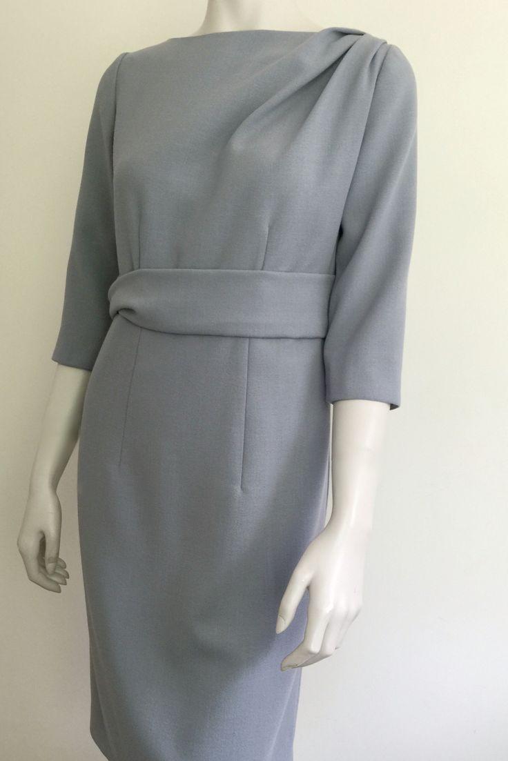 Grey wool crepe dress
