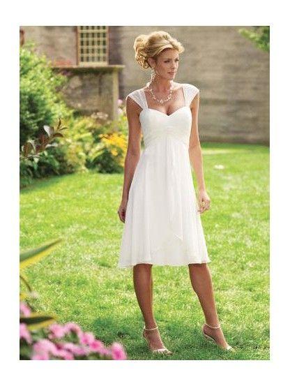 short casual wedding dress waist pleated short chiffon cap sleeves white informal
