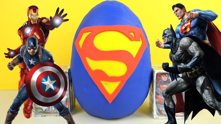 Superhero Giant Play-Doh Surprise Egg Superman Batman Marvel Avengers Ni...