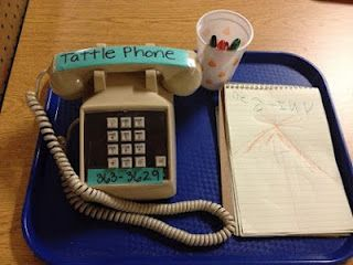 "I like the idea of a tattle phone. The kids can ""call"" the tattle police to tell on someone and write down what they saw.  Good use for literacy activity."