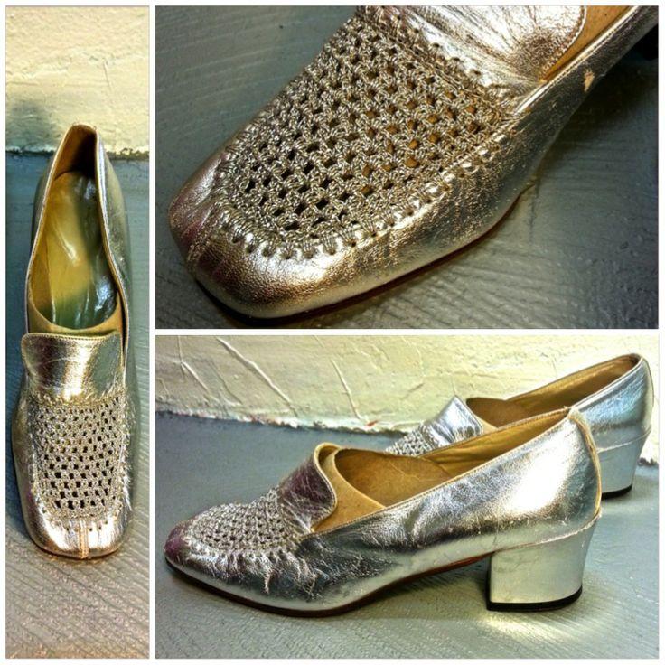 Chaussures vinage argentées, taille 6, 59.- Collection privée © Solo-Mâtine