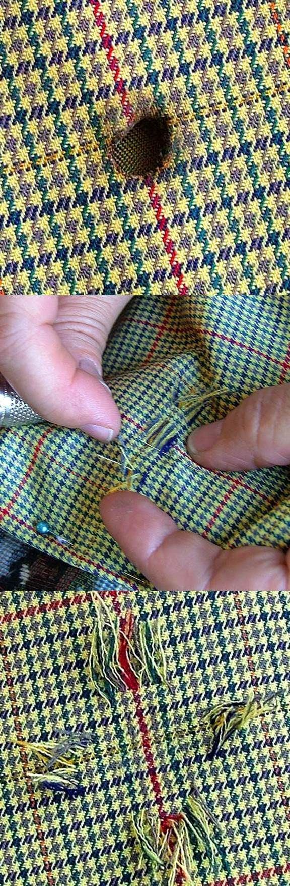 Sewing tutorial: Invisible mending. First of all, we must find threads identical to the original. Most of the time, we pick it from the lining. A few technical secrets will allow us to recreate it if there isn't enough. #sewing