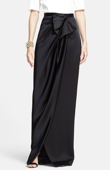 St. John Collection Draped Liquid Satin Evening Skirt at Nordstrom.com. An exquisite bow below the slim waistband gathers the softly draped front of a beautifully refined satin skirt that falls gently into a slight train.