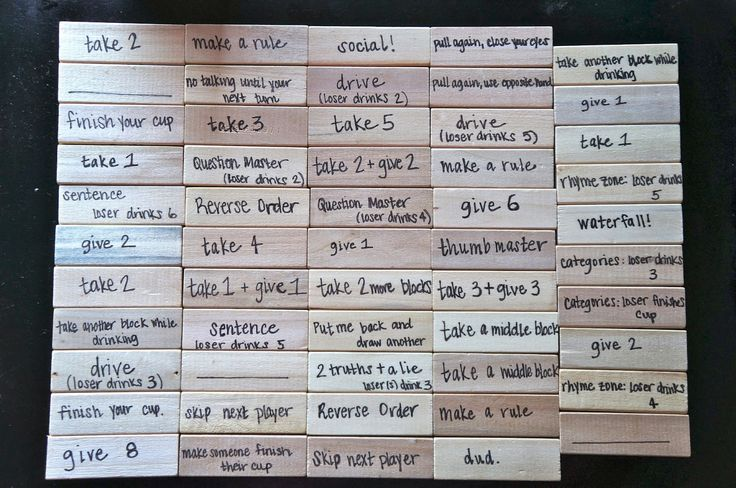 Drinking Jenga DIY---gives ideas and explanations for all the rules. Perfect housewarming gift idea!