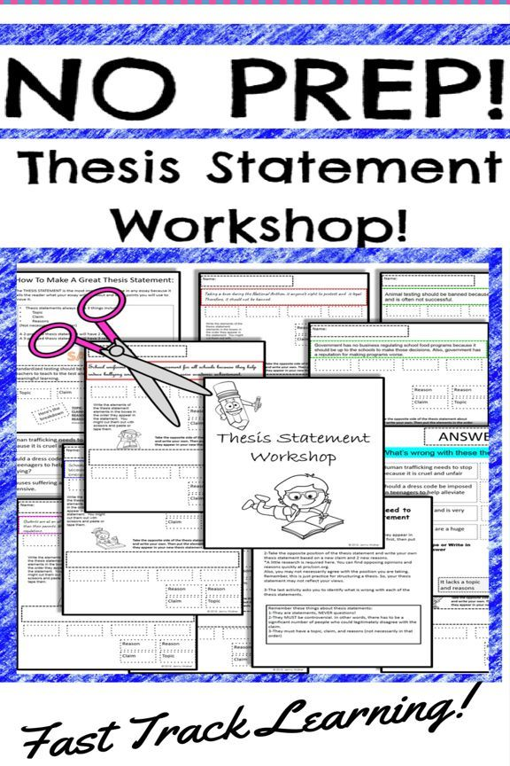 thesis statement worksheets printable workshop  digital resources  teaching and learning thesis statement does not need to be difficult take  the fast track to teaching thesis statement for argumentative essay writing  with