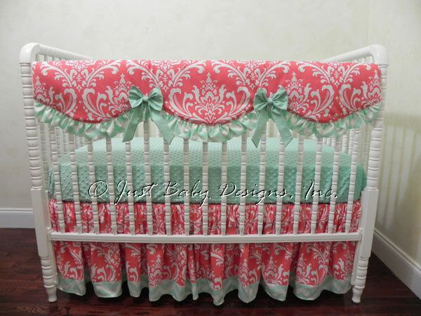 Baby Girl Crib Bedding Set Faith - Bumperless Crib Bedding,  Girl Baby Bedding, Teething Rail Cover, Coral and Mint Baby Bedding by BabyBeddingbyJBD on Etsy https://www.etsy.com/listing/234037386/baby-girl-crib-bedding-set-faith