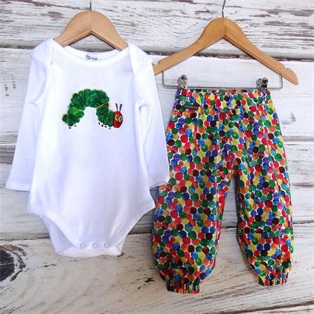 """Very Hungry Caterpillar"" Set - Harem Pants + Applique tee Sizes Newborn - 1"