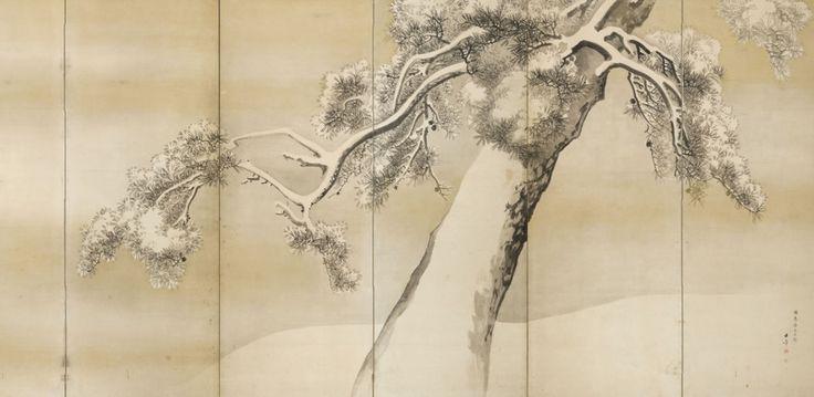 Kawabata Gyokushō (1852-1914), Kiefern im Schnee, nach Maruyama Ōkyo (1733-1795), Meiji-Zeit, spätes 19. / frühes 20. Jahrhundert, rechter Schirm eines Paares sechsteiliger Stellschirme, Tusche und Gold auf Papier
