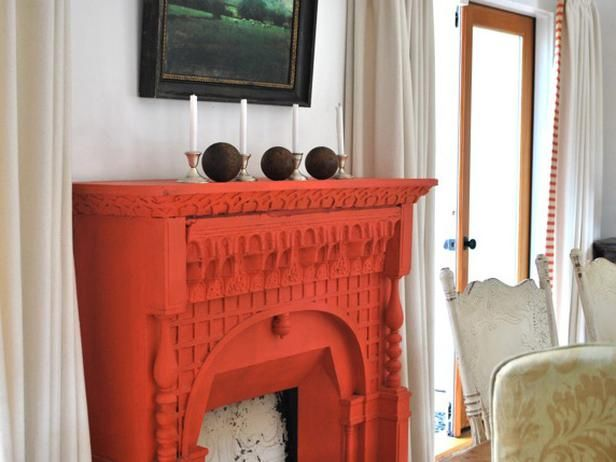 Why Not Try A Bold Color For Your Mantel This Vibrant