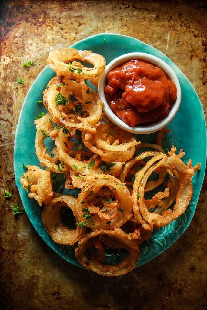 Beer Battered Onion Rings with Jalapeno ketchup- Vegan and Gluten Free from HeatherChristo.com