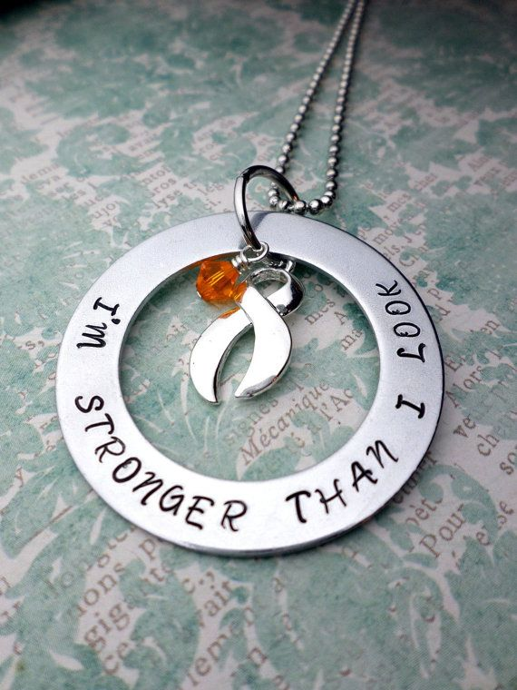 Orange Ribbon Necklace, Leukemia Awareness, MS Awareness, Self Injury, Kidney Cancer, ADHD, Malnutrition Awareness, rsd, CRPS Awareness