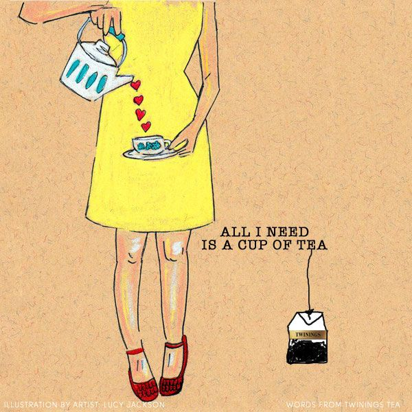 All I need right now is a cup of tea... it's true our kettle is on, we just need to work out which tea to drink :-) We love this illustration by Lucy Jackson (words and teabag by us). You can find Lucy's work at: http://www.etsy.com/people/luckyjackson?ref=owner_profile_leftnav