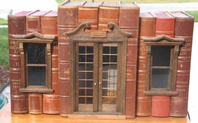 """BOOKBOX HOUSES with Doors & Windows © Shannon MOORE (Artisan, Miniature Maker. Florida, USA).  Real books, """"hollowed-out"""", so that a miniature vignette setting can be placed inside. Starting prices $150 ... Give credit where due. Acknowledge the artist by name here in the caption. Link / Pin from the Primary source. Promote blogs here in the caption."""
