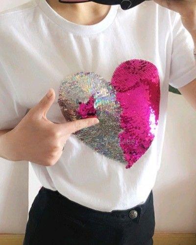 21120421 Funny reversible sequin t shirt womens love white tee short sleeve ...