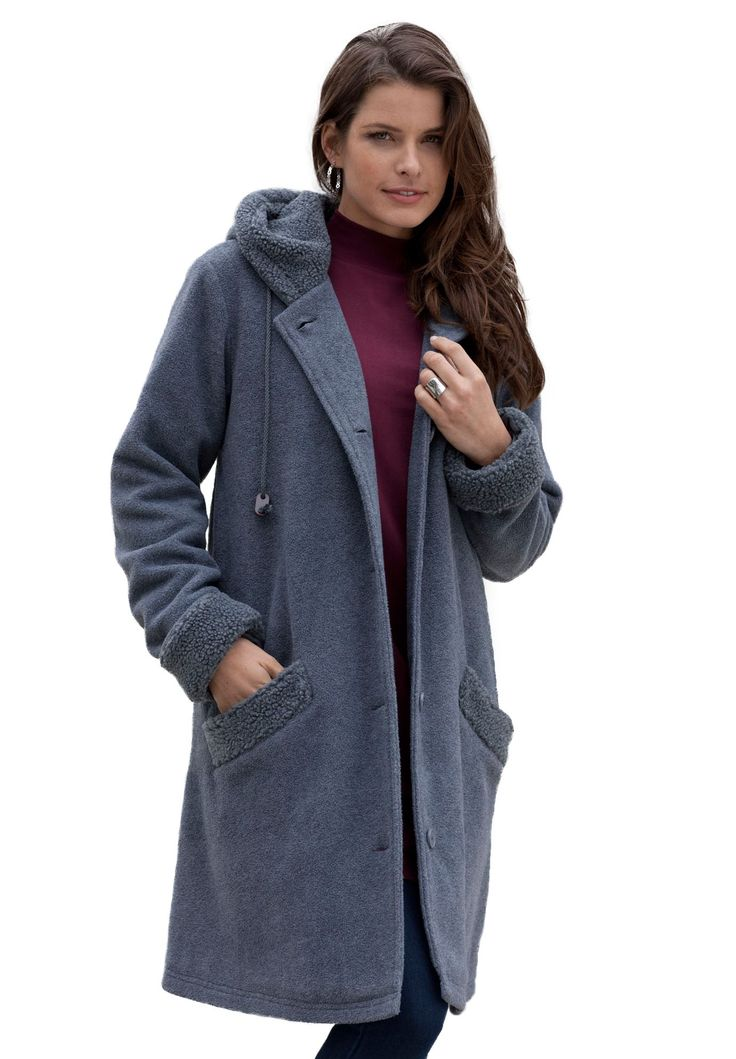 Ultra soft sherpa lining makes this plus size coat a must