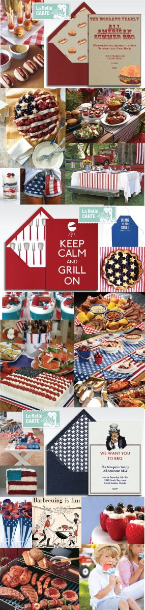 4th July, 4th July Party, Online Invitations, July 4th BBQ Party Ideas: http://www.labellecarte.com/en/la_belle_blog/2012/06/21/celebrate-this-4th-of-july-with-an-all-american-bbq-online-invitations-and-red-white-and-blue-menu/
