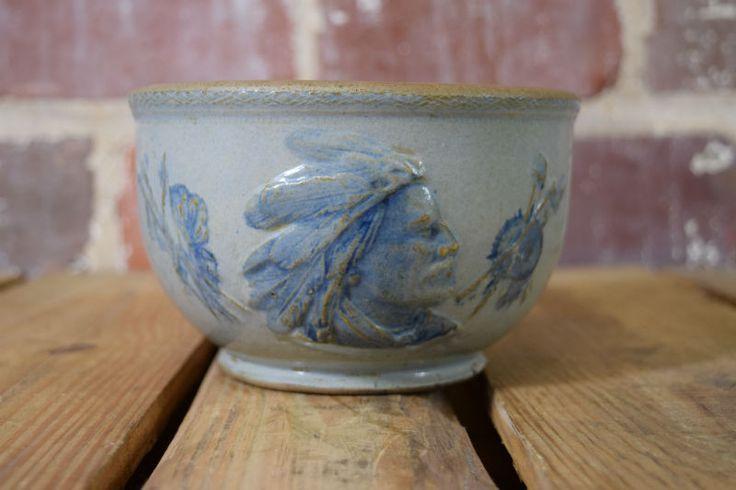 Old Sleepy Eye Stoneware Salt Bowl Quot F Quot Mark Salt Glazed Weir Pottery Beautiful