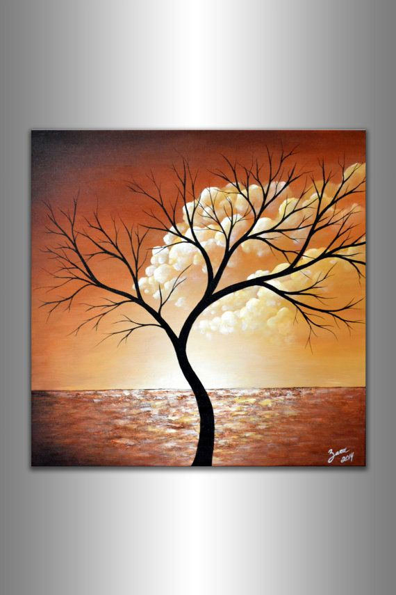 Abstract Tree and Clouds Painting Contemporary Modern by ZarasShop