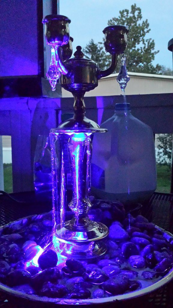 Tabletop Fountain With Blue Light.