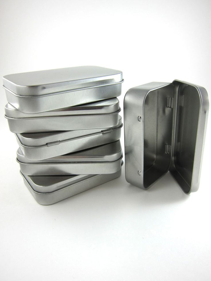 6 Steel Metal Boxes Hinged Rectangular Tins - Wedding Favor Boxes Mint Tins by snugglymonkey on Etsy https://www.etsy.com/listing/100992074/6-steel-metal-boxes-hinged-rectangular