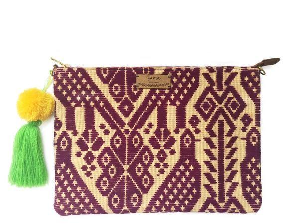 Purple Otomi Clutch & Crossbody Bag - Azucar Maria - 1