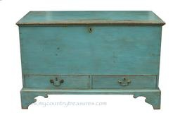New England original blue painted blanket chest over drawers. Signed and dated by the maker John Booth 1820.