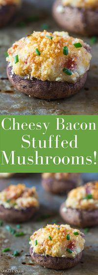 Gluten Free Stuffed Mushrooms with bacon recipe, they are fabulously tasty little flavor bombs!! it's such an EASY recipe and they are cooked in only 20 minutes!