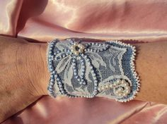 Beaded denim cuff bracelet, pearls cuff bracelet, lace and jeans large cuff bracelet by LucianaDesigns via Etsy, 30 euro