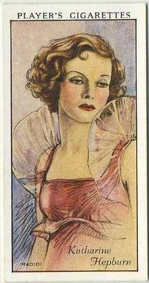 Katharine Hepburn ~ 1934 John Player & Sons Film Stars Tobacco Card, Series 1, #26 on Immortal Ephemera...