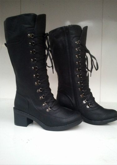 Heel Height is 2.5 inches. total length of the boot is 15 inches. lace up combat military boots with laces running across 11 eyes all the way up to the top to keep your feet firm and strong. Price: £29.99 Only