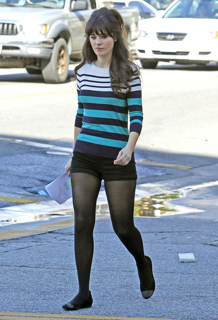 Zooey Deschanel's Blue Striped Sweater from New Girl.  Outfit details: http://wwzdw.com/z/773/